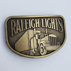 Raleigh Lights Semi Trucking vtg buckle hipster